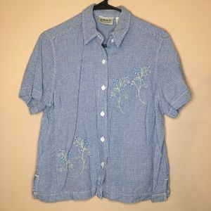 BLUE EMBROIDERED FLORAL BUTTON DOWN SHORT SLEEVE